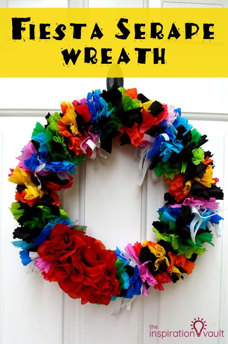 Fiesta Serape Wreath Craft Tutorial Cinco de Mayo Party Decoration