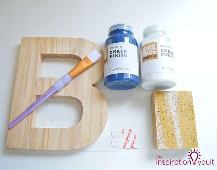 Chalk Painted Monogram Letter Materials