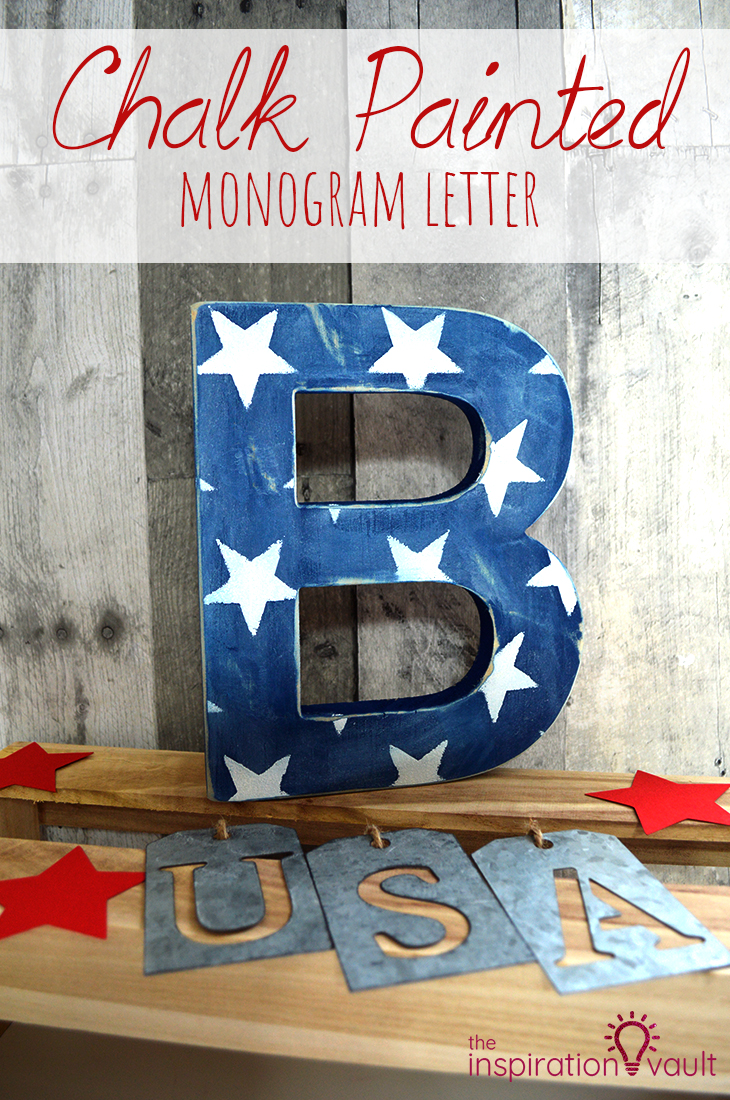 Chalk Painted Monogram Letter Patriotic DIY Decor Craft Tutorial with Stenciled Stars
