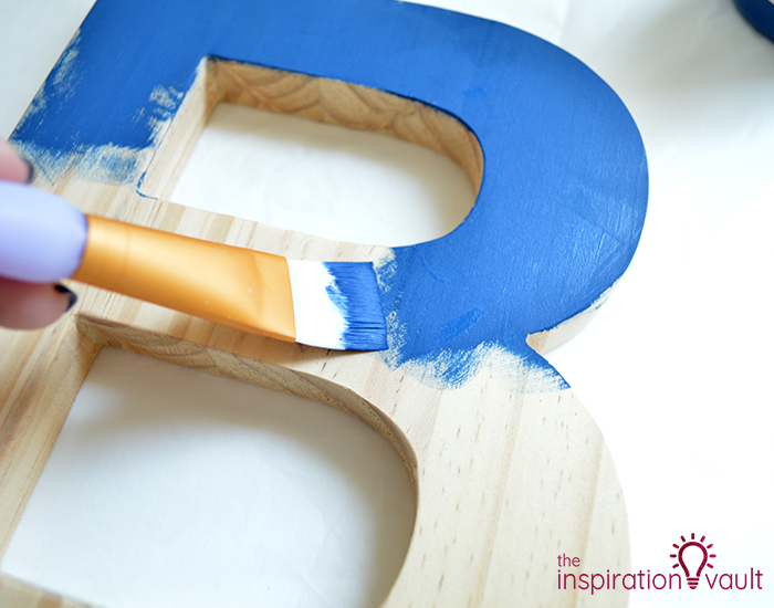 Chalk Painted Monogram Letter Step 1a