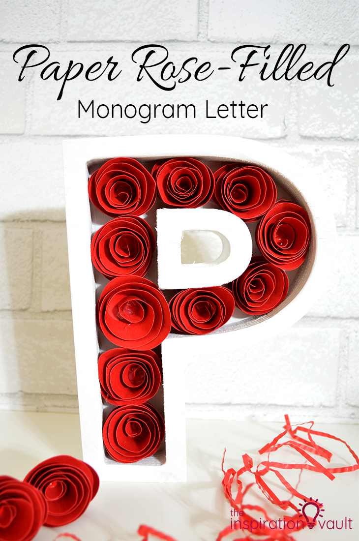 Paper Rose-Filled Monogram Letter Cricut Paper Flower Craft Tutorial