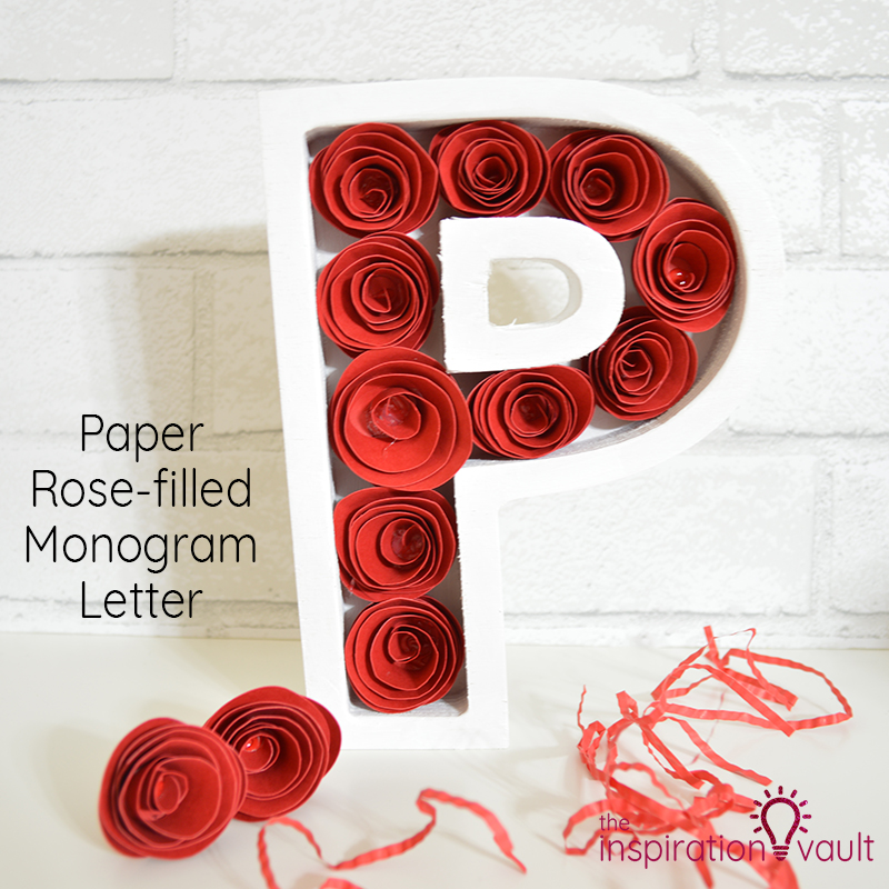 Paper Rose-Filled Monogram Letter Feature