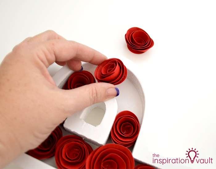 Paper Rose-Filled Monogram Letter Step 10
