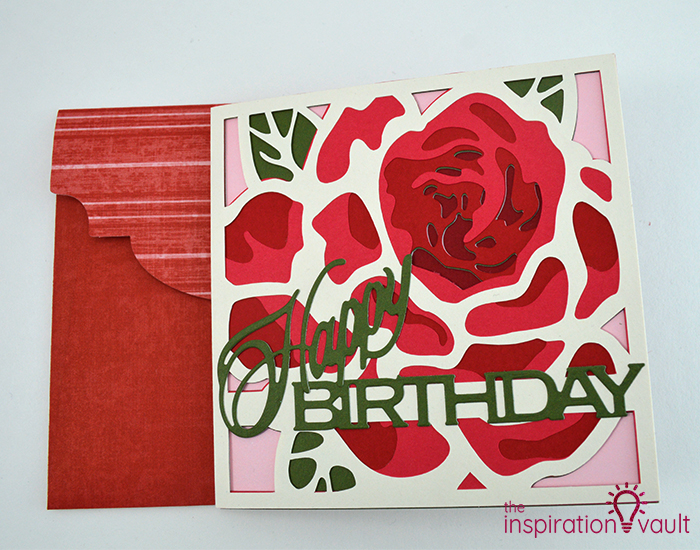 Lovely Red Rose Cricut Birthday Card Complete