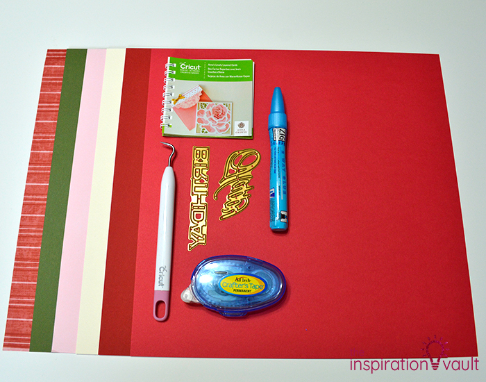 Lovely Red Rose Cricut Birthday Card Materials