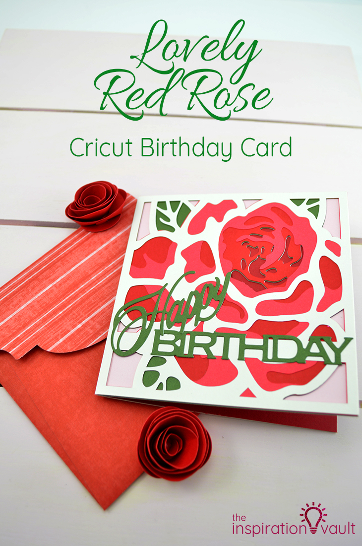 Lovely Red Rose Cricut Birthday Card Papercraft Craft Tutorial for Handmade Card