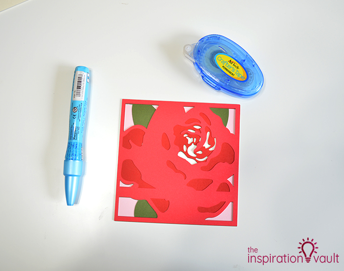 Lovely Red Rose Cricut Birthday Card Step 14