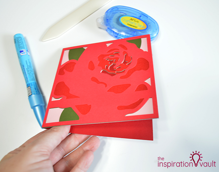 Lovely Red Rose Cricut Birthday Card Step 16