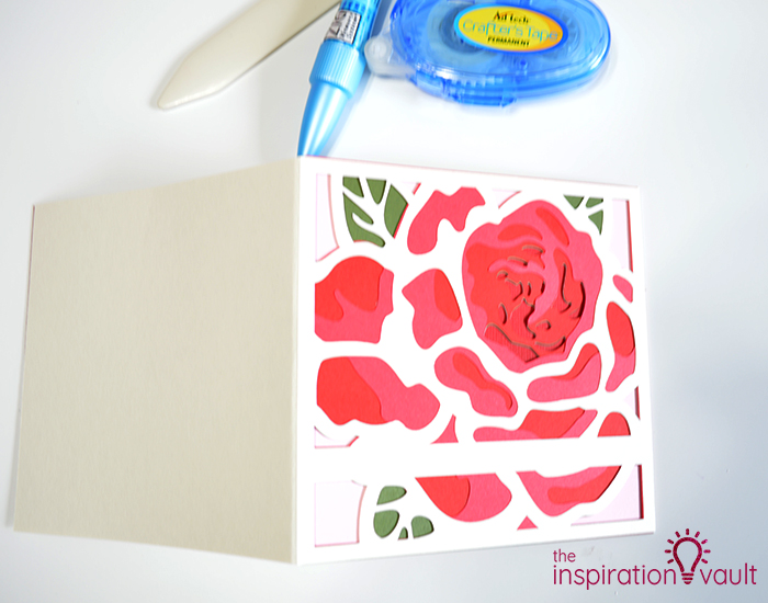 Lovely Red Rose Cricut Birthday Card Step 17