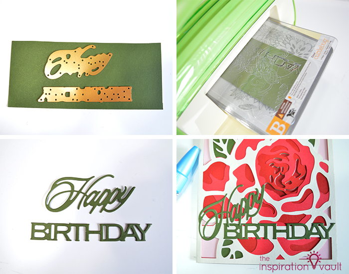Lovely Red Rose Cricut Birthday Card Step 18