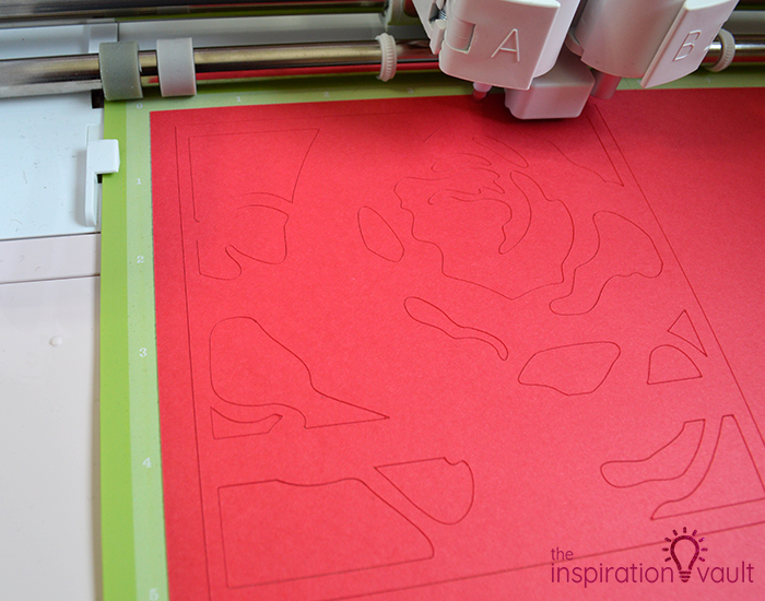 Lovely Red Rose Cricut Birthday Card Step 9b