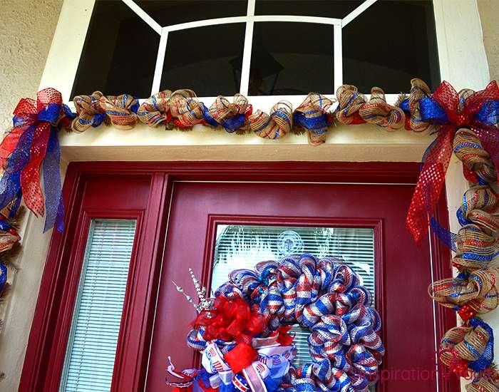 Patriotic Deco Mesh Door Garland Complete 2