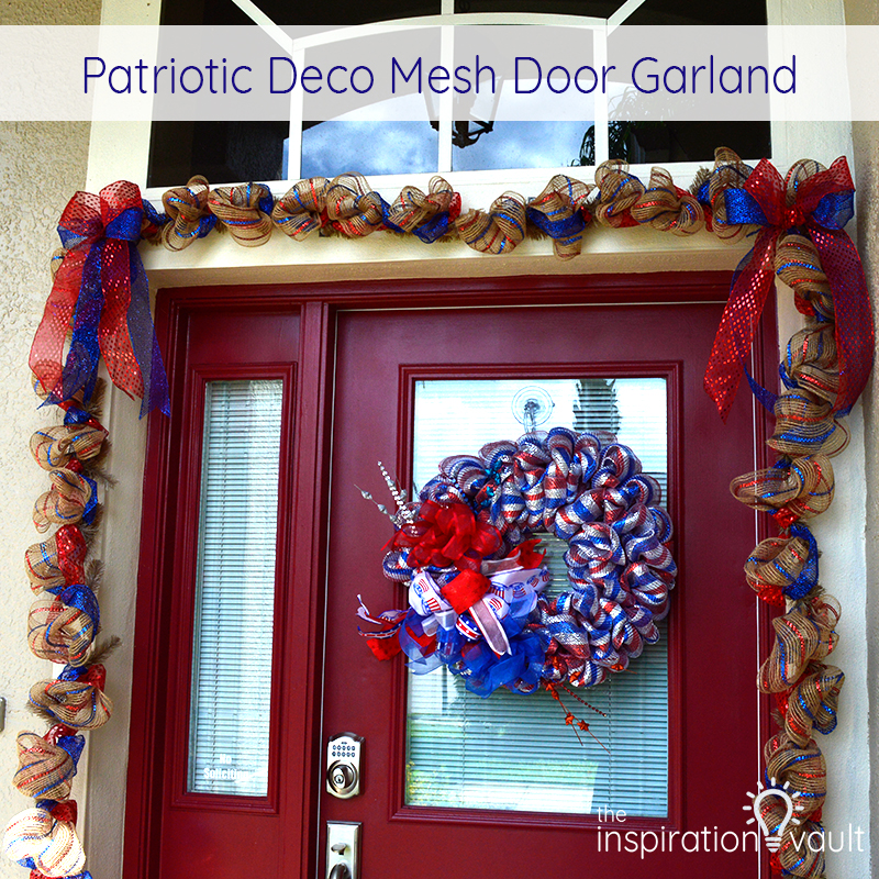 Patriotic Deco Mesh Door Garland Feature & Patriotic Deco Mesh Door Garland - The Inspiration Vault