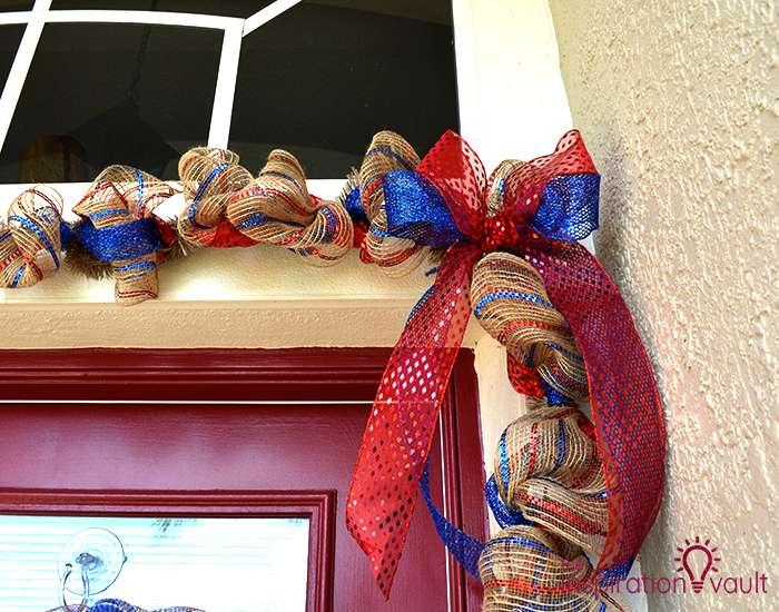 Patriotic Deco Mesh Door Garland Tip