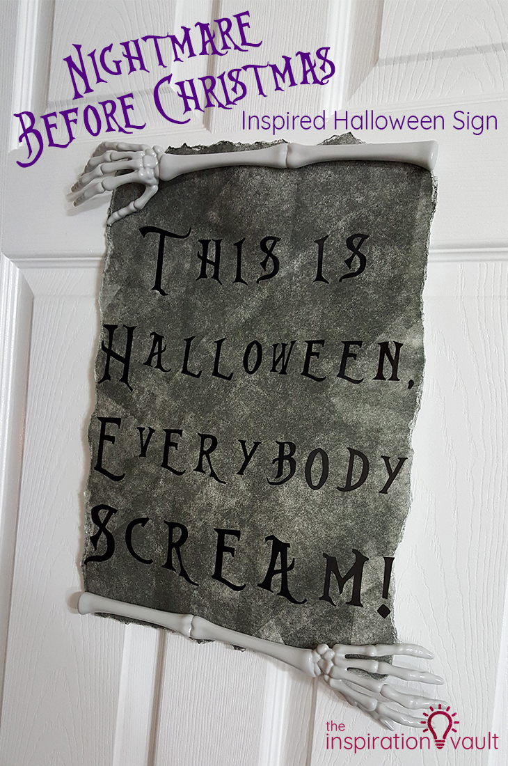 Nightmare Before Christmas Inspired Halloween Sign DIY Cricut Craft Tutorial