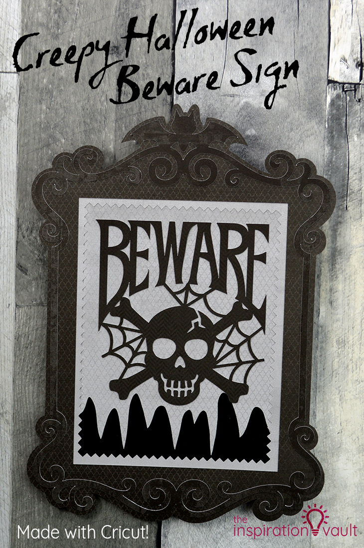 Creepy Halloween Beware Sign Cricut Craft Tutorial