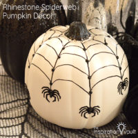 Rhinestone Spiderweb Pumpkin Decor Feature