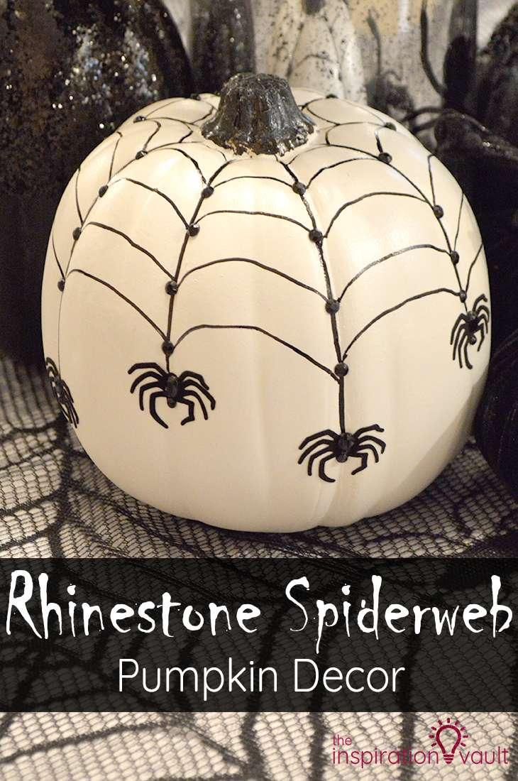 Rhinestone Spiderweb Pumpkin Decor Halloween Craft Tutorial #halloween #pumpkin #craft