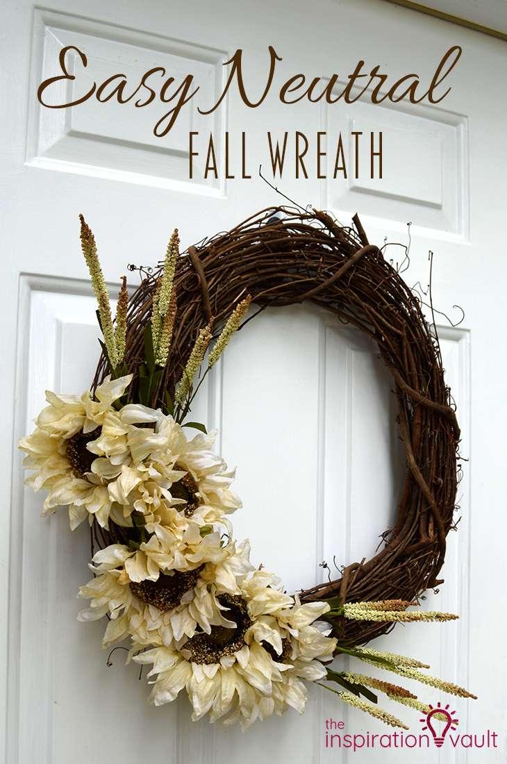 Easy Neutral Fall Wreath DIY Craft Tutorial