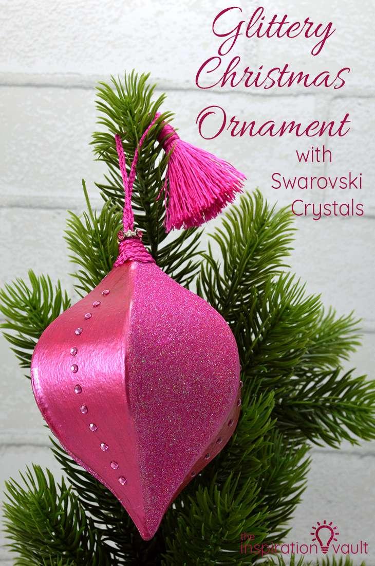 Glittery Christmas Ornament with Swarovski Crystals DIY Craft Tutorial