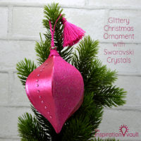 Glittery Christmas Ornament with Swarovski Crystals Feature