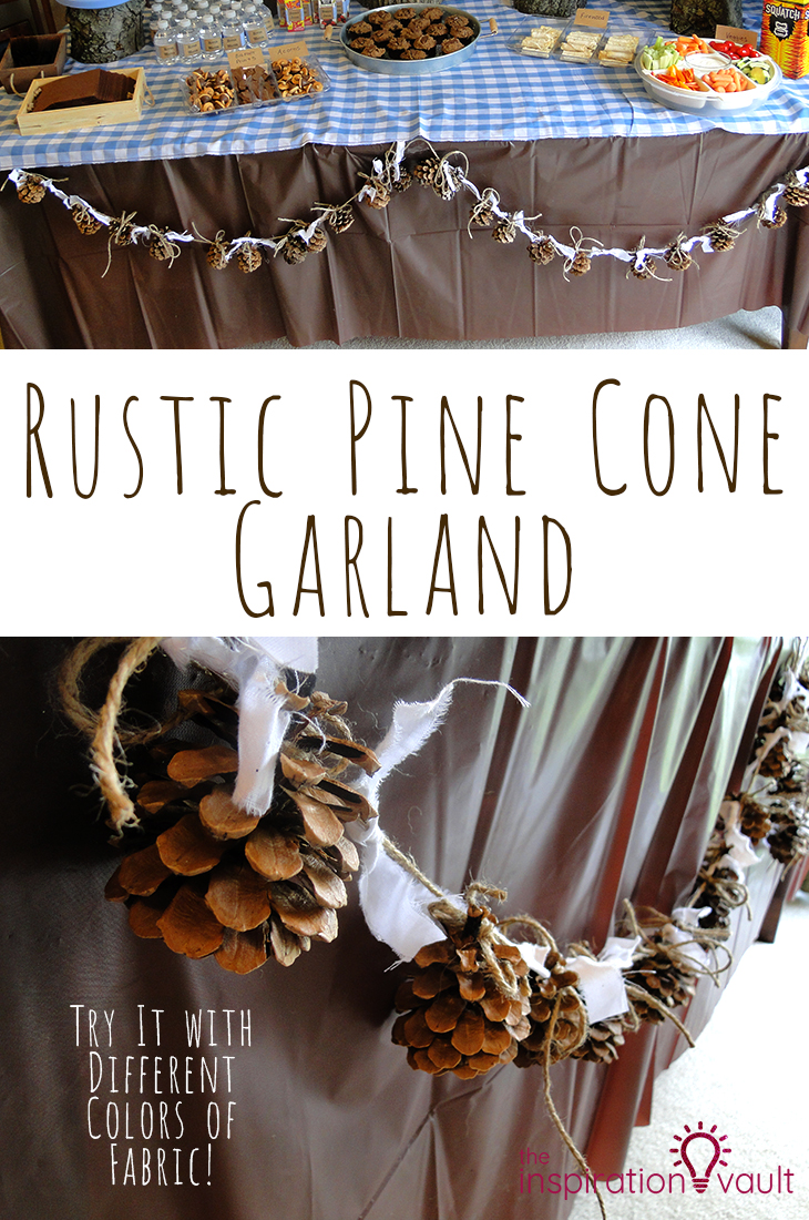 Rustic Pine Cone Garland Craft Tutorial for a Party Decoration #pinecone #garland