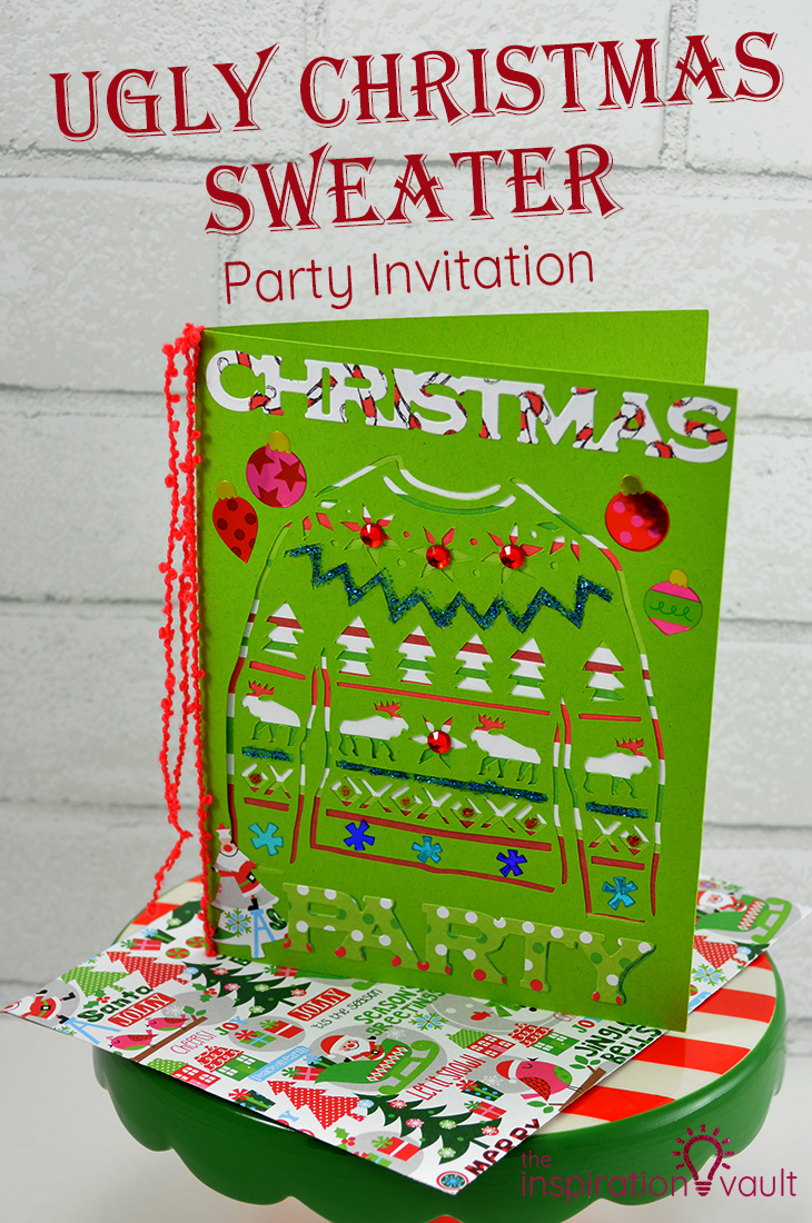 ugly christmas sweater party invitation handmade card craft tutorial - Ugly Christmas Sweater Party Decorations