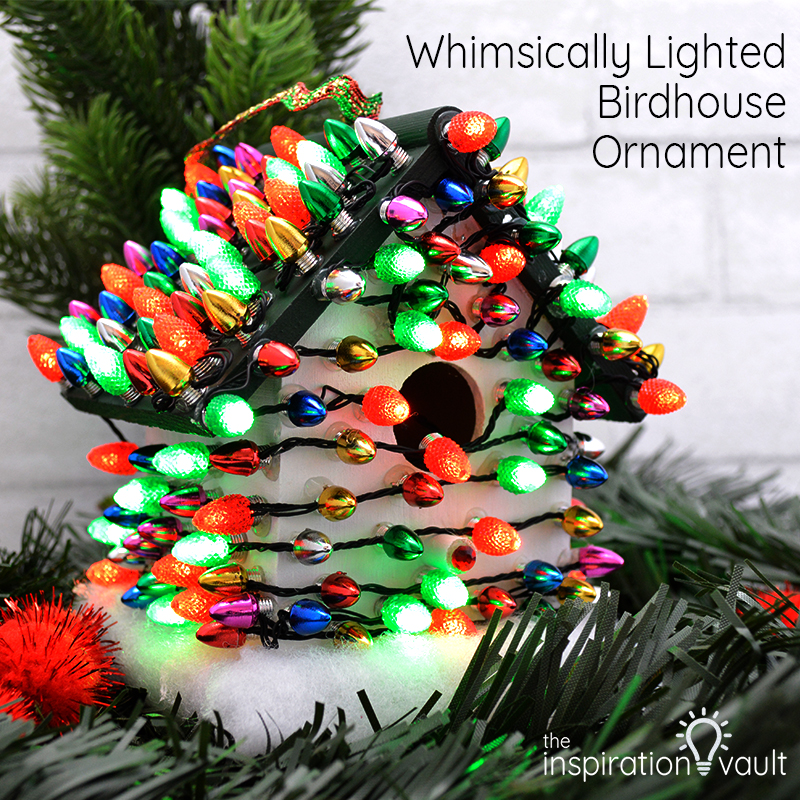 Whimsically Lighted Birdhouse Ornament Feature