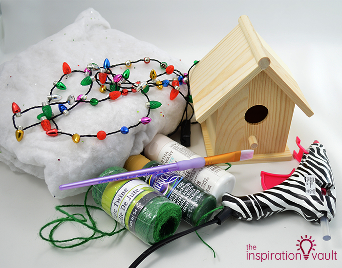 Whimsically Lighted Birdhouse Ornament Materials