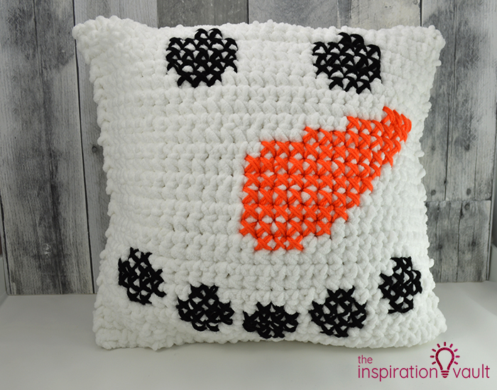 Crochet & Cross Stitch Snowman Pillow Complete