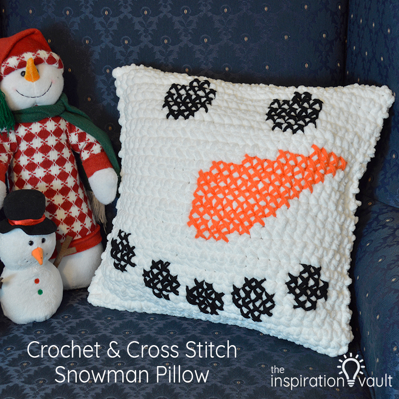 Crochet & Cross Stitch Snowman Pillow Feature