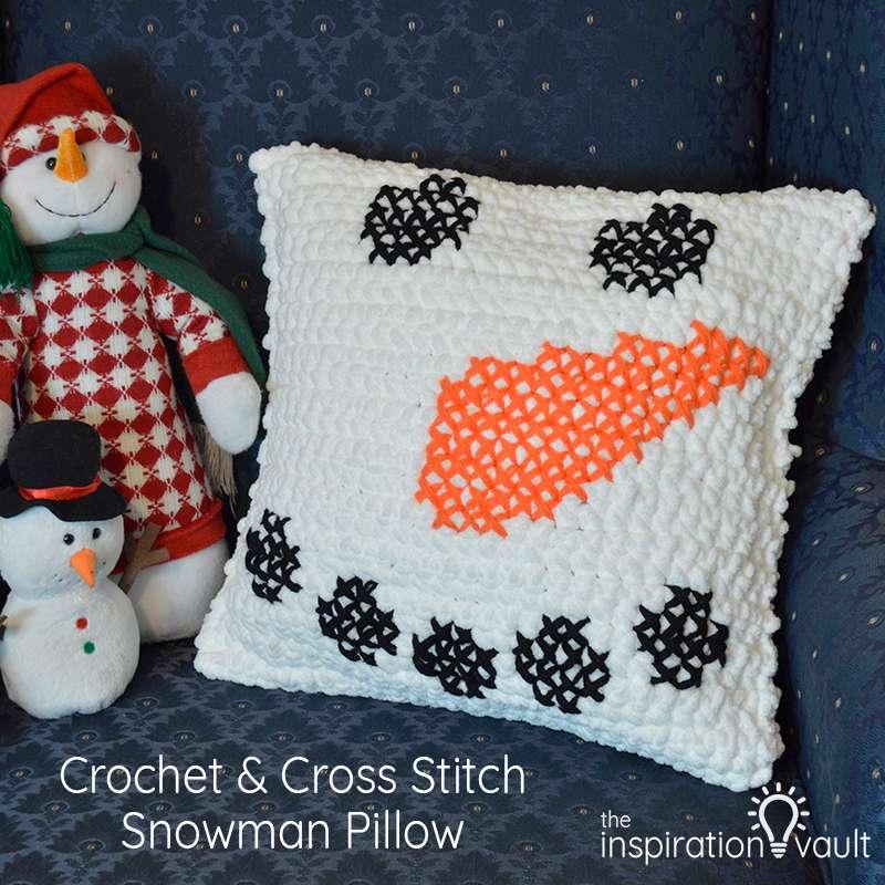 Crochet & Cross Stitch Snowman Pillow Feature