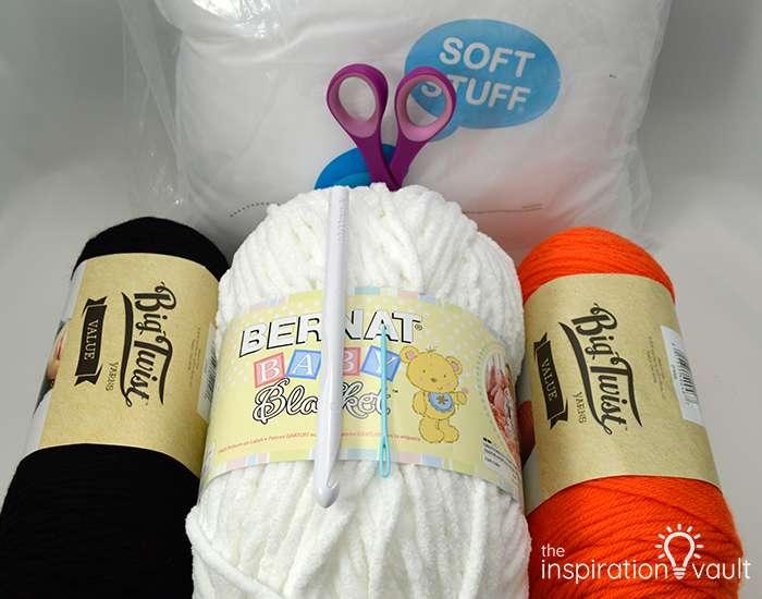 Crochet & Cross Stitch Snowman Pillow Materials