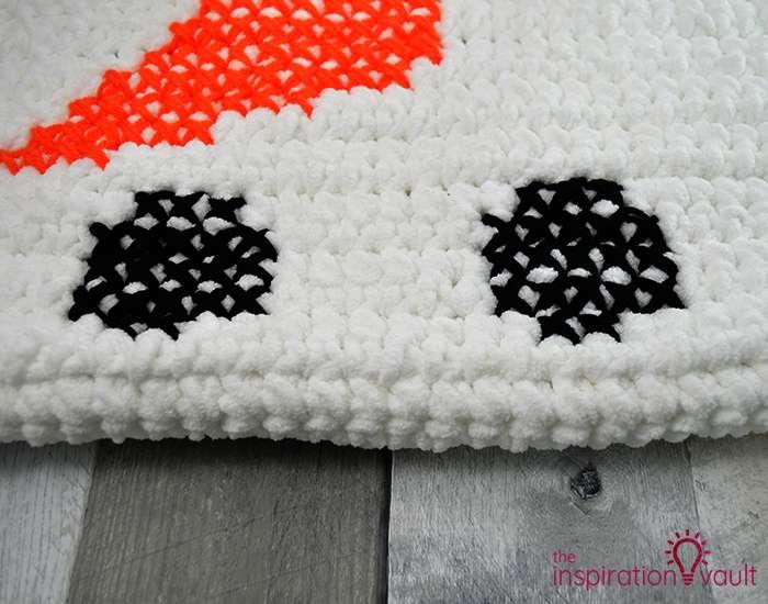 Crochet & Cross Stitch Snowman Pillow Step 9