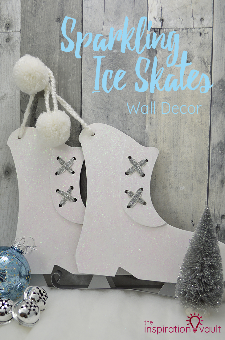 Sparkling Ice Skates Wall Decor Christmas Craft Tutorial for Winter Wonderland Decorations