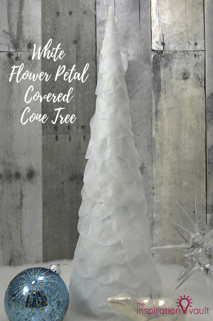 White Flower Petal Covered Cone Tree DIY Christmas Craft Tutorial