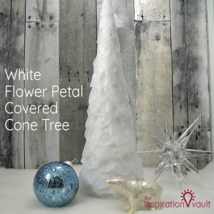 White Flower Petal Covered Cone Tree Feature