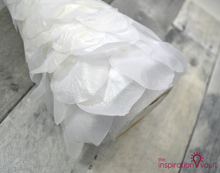 White Flower Petal Covered Cone Tree Step 3a