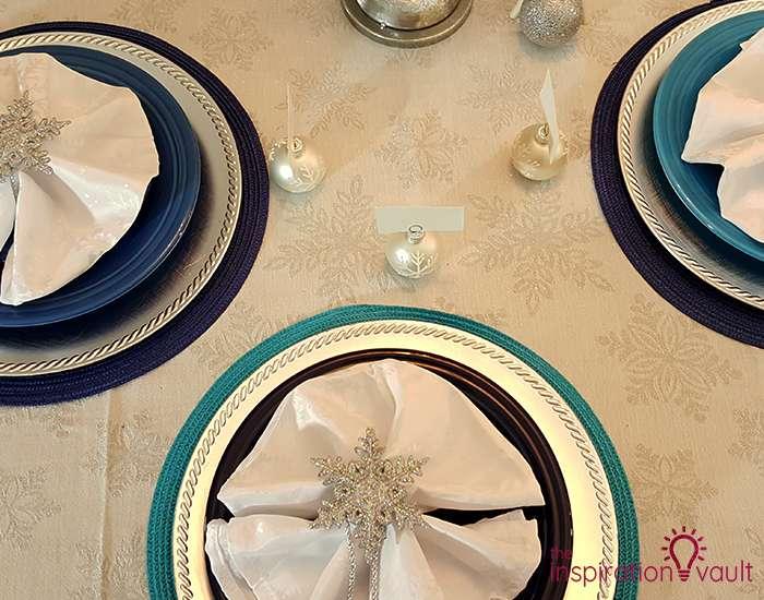 Winter Wonderland Snowflake Table Setting Plates