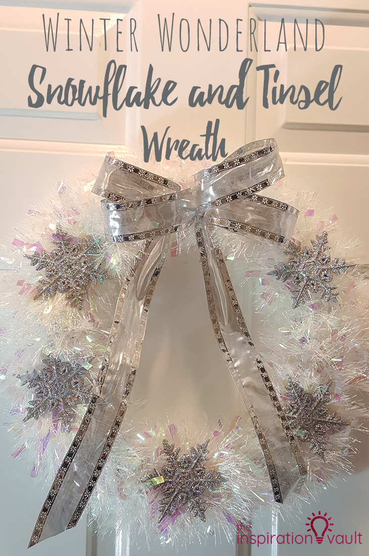 Winter Wonderland Snowflake and Tinsel Wreath DIY Craft Tutorial