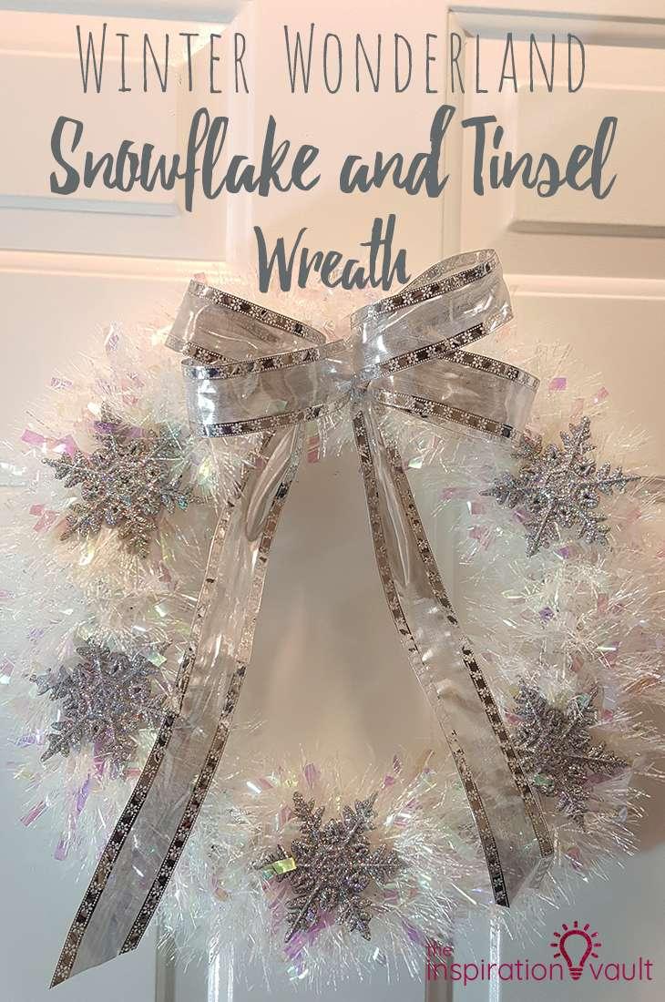 Winter Wonderland Snowflake and Tinsel Wreath DIY Craft Tutorial