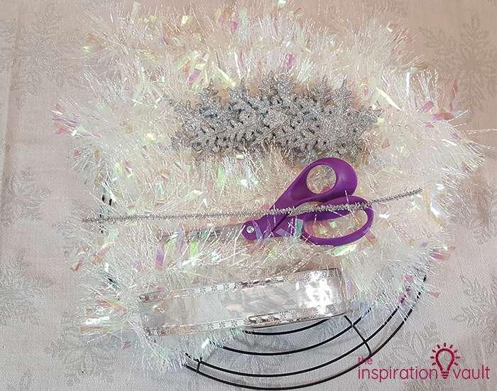 Winter Wonderland Snowflake and Tinsel Wreath Materials
