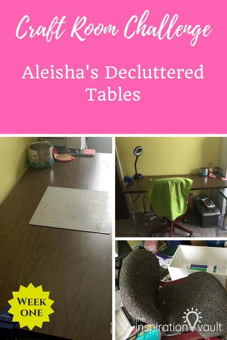 Craft Room Challenge Week 1: Aleisha's De-cluttered Table #craftroomchallenge #confessyourmess #declutter #organize #craftroom