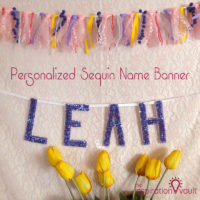 Personalized Sequin Name Banner Feature