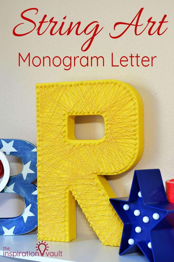 String Art Monogram Letter DIY Craft Tutorial