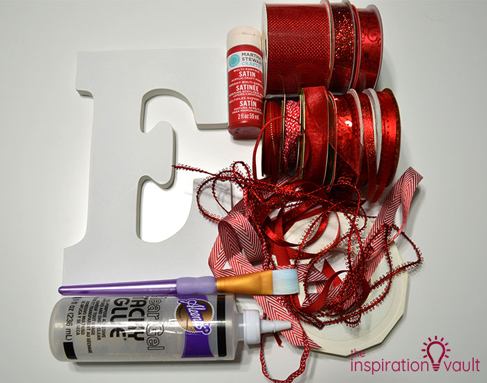 Ribbon Covered Monogram Letter Materials