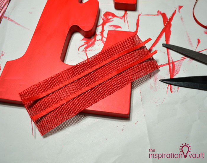 Ribbon Covered Monogram Letter Step 3