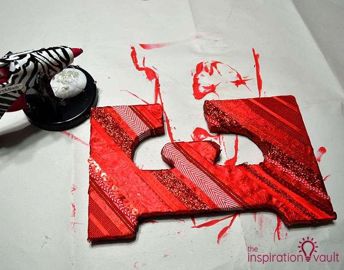 Ribbon Covered Monogram Letter Step 5a