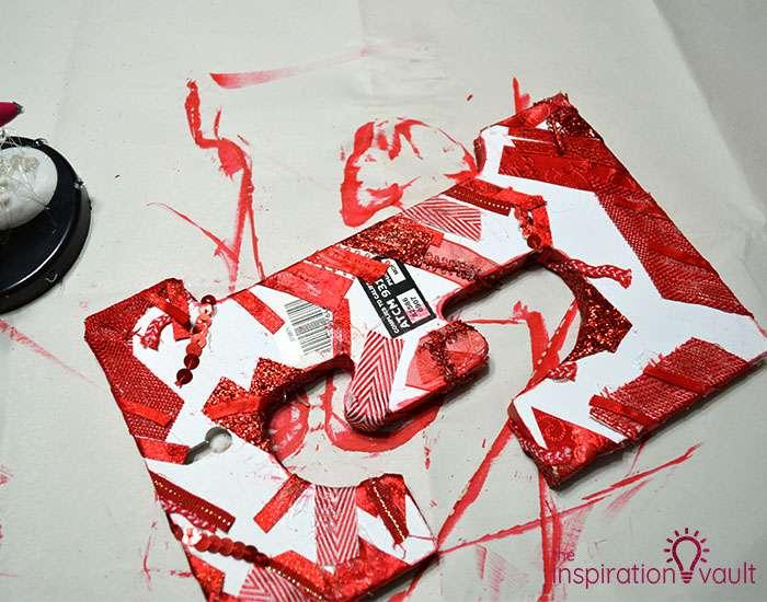Ribbon Covered Monogram Letter Step 5b