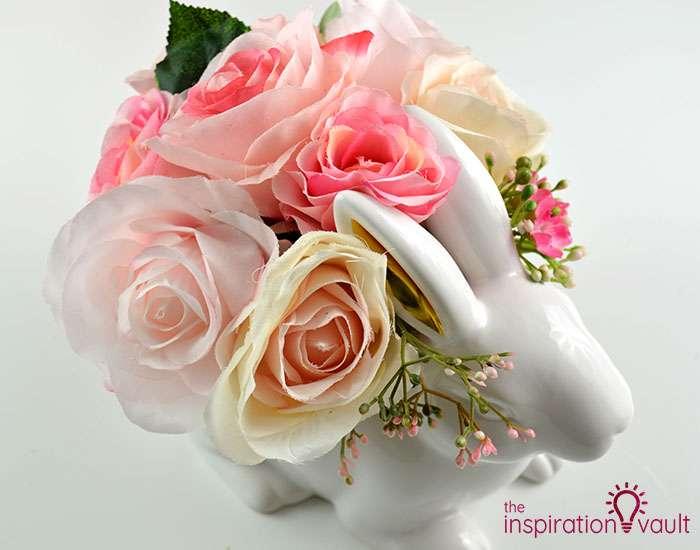 Ceramic Easter Bunny Floral Arrangement Complete 2